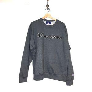 NWT Champion granite grey pullover crewneck logo L